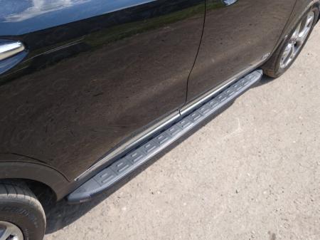 Пороги алюминиевые с пластиковой накладкой (карбон черные) 1820 мм Kia Sorento 2015